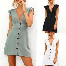 Womens Plunge V Neck Button Ruffle Vest Mini Dresses Summer Party Beach Sundress