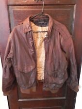 Vintage Men's Hunters Run Leather Bomber Jacket, Size Large