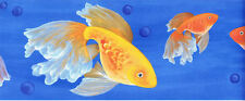 Donna Dewberry Oriental Goldfish Wallpaper Border on Blue   233B61005
