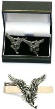 Osprey Fish Cufflinks & Tie Clip Bar Slide Mens Falconry Set Sea Hawk Gift