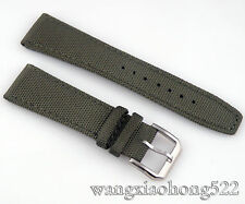 22mm green olive fabric Leather Wristwatch Strap Band parnis 052