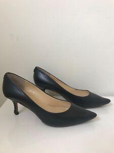 Ivanka Trump black leather heels 39 pointed toe