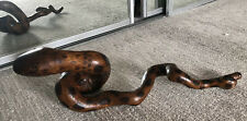 """Vintage Hand Carved Wood Root Snake Sculpture Outsider Folk Art 26"""" Long UNIQUE"""