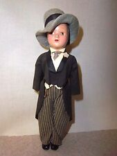 Vintage Hard Plastic Male Doll In Original Tuxedo Suit And Hat * *