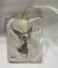 Serenity Seasons Of Cannon Falls March Aquamarine Angel Mini Ornament Pin Xmas