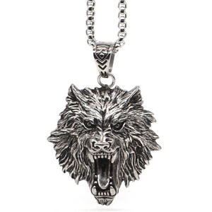 "1.9"" Men's Necklace Trendy Titanium Steel Domineering Wolf Head Chain Pendant"
