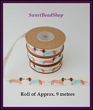 1 Cotton 15mm Width Ribbon approx. 9 metre Roll Dachshund Sausage Dog Print