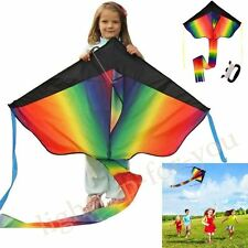 Huge 100M String Rainbow Kite Kids Fun Outdoor Grassland Beach Weekends Holiday