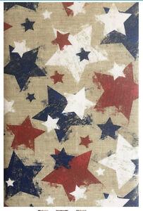 PATRIOTIC STARS Vinyl Tablecloth 4th of July BURLAP DESIGN Red White Blue