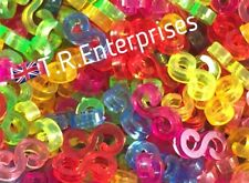 S CLIPS 8gm / approx 100 clip coloured DIY loom bands connector UK SELLER
