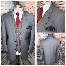 Jos A Bank Gray Windowpane Wool Check Sport Coat Jacket Mens Size 46 Regular