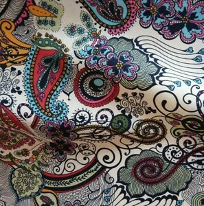 Pink Vibrant Paisley Lawn Cotton Fabric, 140cm Wide, Dressmaking