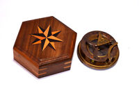 """Brass antique finish 4"""" compass maritime marine sundial compass with wooden box"""