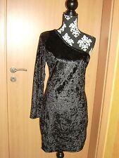 One Shoulder* Samt Etui-Kleid Stretch,Gr.38 M,Pailletten,Schwarz,Pannesamt,NEU