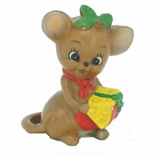 Josef Originals Mouse Figurine Vintage Christmas Present Cheese Girl Mice