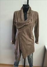 Made in Italy Long Sweat Jacke Mantel Blazer Gr. S M L taupe washed Vintage