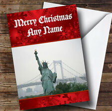 New York Statue Of Liberty Personalised Christmas Greetings Card