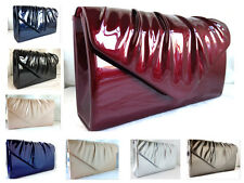 NEW BURGUNDY RED NAVY BLUE PEWTER SILVER ROYAL FAUX PATENT LEATHER CLUTCH BAG
