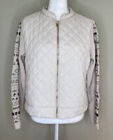 Zenergy By Chico's Women's Long Sleeve zip Up Quilted Jacket Size 2 In Ivory B5