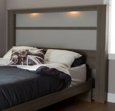 Panel Headboard With Lights Wooden King Size Bedroom Furniture Maple Gray
