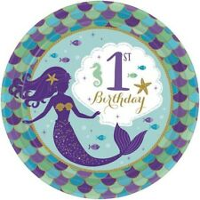 MERMAID WISHES 1st BIRTHDAY SMALL PAPER PLATES (8) ~ Party Supplies Dessert Cake