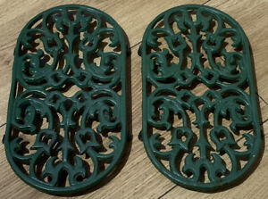 2 Green  Cast Iron Oval Trivets 11 x 3/4 Inch Kitchen Pot Stand Trivet