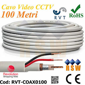 Cavo Video  RG59 CCTV + 2 cavi Alimentazione 100 Metri  Coassiale per esterno