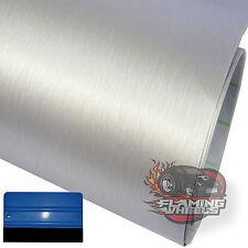 3m x 30cm in Alluminio Spazzolato ALU SILVER Wrap Adesivo Decalcomania Auto + LAVAVETRI