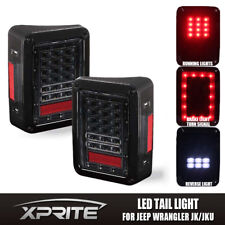 Xprite LED Tail Light Black with Clear Lens For Jeep Wrangler JK JKU 2007 - 2018