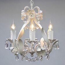 Crystal Ceiling Chandelier 4 Light White Fixture Pendant Small Vintage Antique