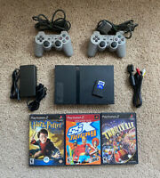 Sony PlayStation 2 PS2 Slim Black Console Bundle w/ 3 Games & 16mb Memory Card