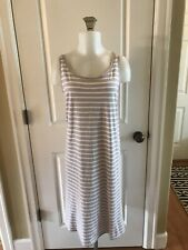 Eileen Fisher Gray White Organic Cotton Sleeveless Dress -Size L