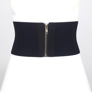 Women Wide Cummerbund Waist Belt Elastic Corset Zip Up Dress Stretch Waistband