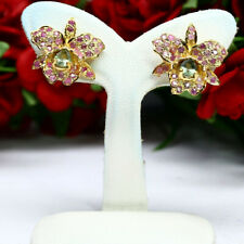 NATURAL HEATED GREEN WITH PINK SAPPHIRE ORCHID EARRINGS 925 STERLING SILVER