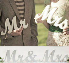 1Set Mr & Mrs Wedding Reception Solid Wooden Letters Table Top Centrepiece Decor