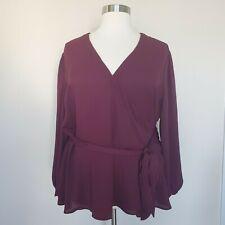 Loft Plus Size 26 Wine Maroon Red Peplum Wrap Top Dressy Holiday Work New NWT