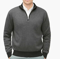 J.Crew Men's Cotton Half-Zip Sweater in Herringbone Black Size L - NWT