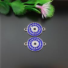 8 pcs Silver Alloy Blue Crystal Evil Eye Charms Pendant Jewelry Connectors 51813