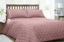 NEW DOUBLE BED ARGYLE PATTERN QUILTED PINK BEDSPREAD / THROW OVER & PILLOWSHAMS