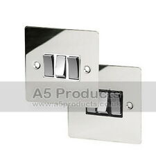 10 Amp Triple Light Switch 3 Gang 2 Way Polished Chrome Flat Style Silver effect