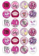 24 40th Birthday Female Wafer / Rice Paper Cupcake Topper Edible Fairy Cake Bun