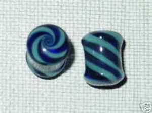 PAIR OF PYREX GLASS 6G 4MM BLUE SWIRL PLUGS BODY JEWELRY PLUG