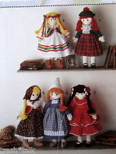 "INternational cloth Doll of the World Pattern 19"" SPanish Scottish Polish Dutch"