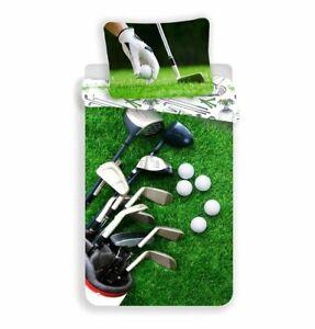 100% Cotton Duvet Cover Pillowcase Set  Boys Single Quilt Golf Sport Bedding