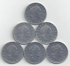 6 DIFFERENT 50 LIRE COINS from ITALY (1974, 1975, 1976, 1977, 1978 & 1979)