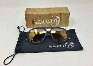 Earth Wood PLAYA Wooden Sunglasses EBONY & MAPLE Frame POLAR Gold Mirror Lens