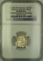 (1189-99) France Poitou Silver Denier Coin Roberts-3887 NGC VF Details AKR