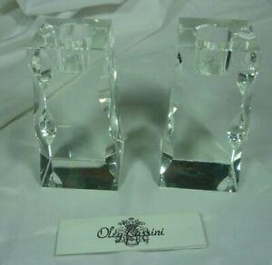 Oleg Cassini Taper Crystal Candle Holder Set of 2 in Box Premier NOS 20L014