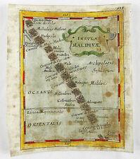 MALEDIVES INDIAN OCEAN ASIA ASIEN KUPFERSTICHKARTE MAP DU VAL 1681 #D892S