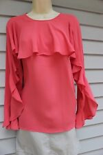 NWT Ann Taylor Coral Flutter Ruffle Bell Sleeved Blouse XS